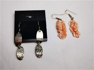 Pair of Costume Earrings, Sterling