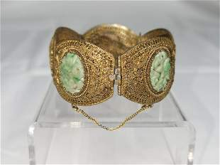 Chinese Jadeite Carved Gilt Silver Bangle Bracelet