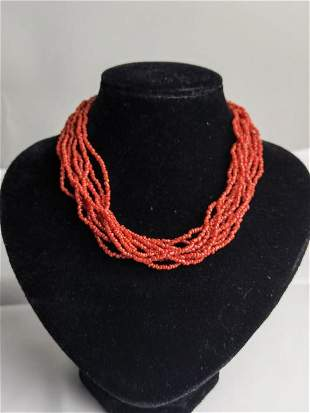Natural Multi-Strand Coral Bead Necklace