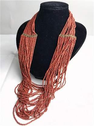 Multi-Strand Coral Bead Necklace