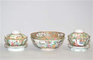 Three 19th C. Chinese Famille Rose Medallion Bowls