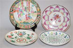 Four 18-20th C. Chinese Porcelain Famille Rose Plates