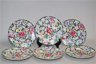 Six 20th C. Chinese Porcelain Famille Noir Plates