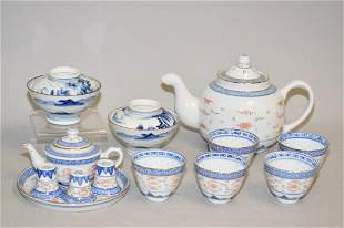 Group of Chinese B&W Porcelain Tea Wares