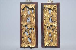 Pr. of 19-20th C. Chinese Gilt Wood Carved Plaques