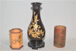 Two Chinese Bamboo Brush Pot and Lacquer Vase