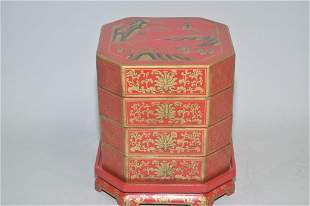 Set of Chinese Gilt Red Lacquer over Wood Snack Bo