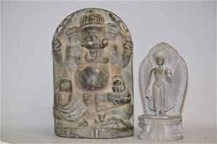 Two Asian/Hindu Stone Carved Buddha