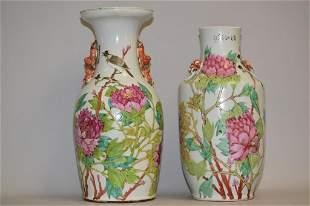 Two 19th C. Chinese Porcelain Famille Verte Vases