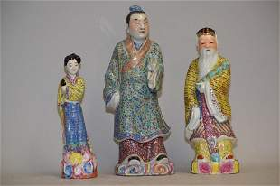 Three 19-20th C. Chinese Porcelain Famille Rose Figures