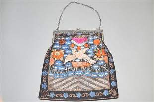 19th C. Chinese Court Official's Badge Embroidered Bag
