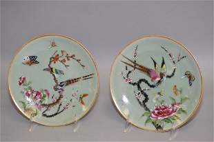 Pr. of 18-19th C. Chinese Porcelain Famille Rose Plates