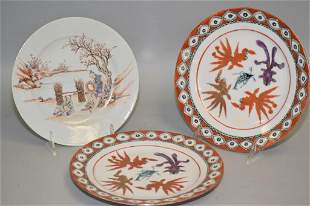 Three 18-19th C. Chinese Porcelain Famille Rose Plates