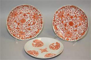 Three 19th C. Chinese Porcelain Iron Red Plates