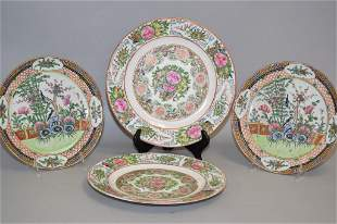Four 19th C. Chinese Porcelain Famille Rose Plates