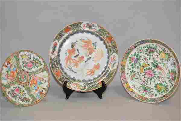 Three 19th C. Chinese Porcelain Famille Rose Plates