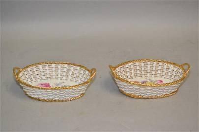 Pr. of 19th C. Meissen Porcelain Gilt Floral Hollow