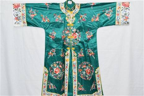 Chinese Green Embroidered Robe