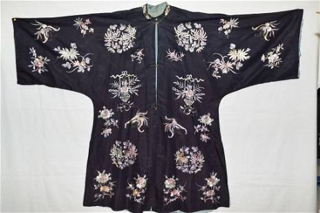 19th C. Chinese Black Embroidered Robe