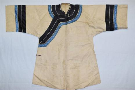 19th C. Chinese Cream Color Embroidered Robe