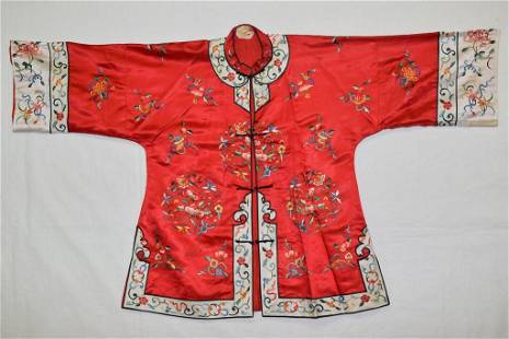 Chinese Red Embroidered Robe