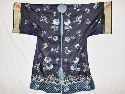 19th C. Chinese Blue Embroidered Robe