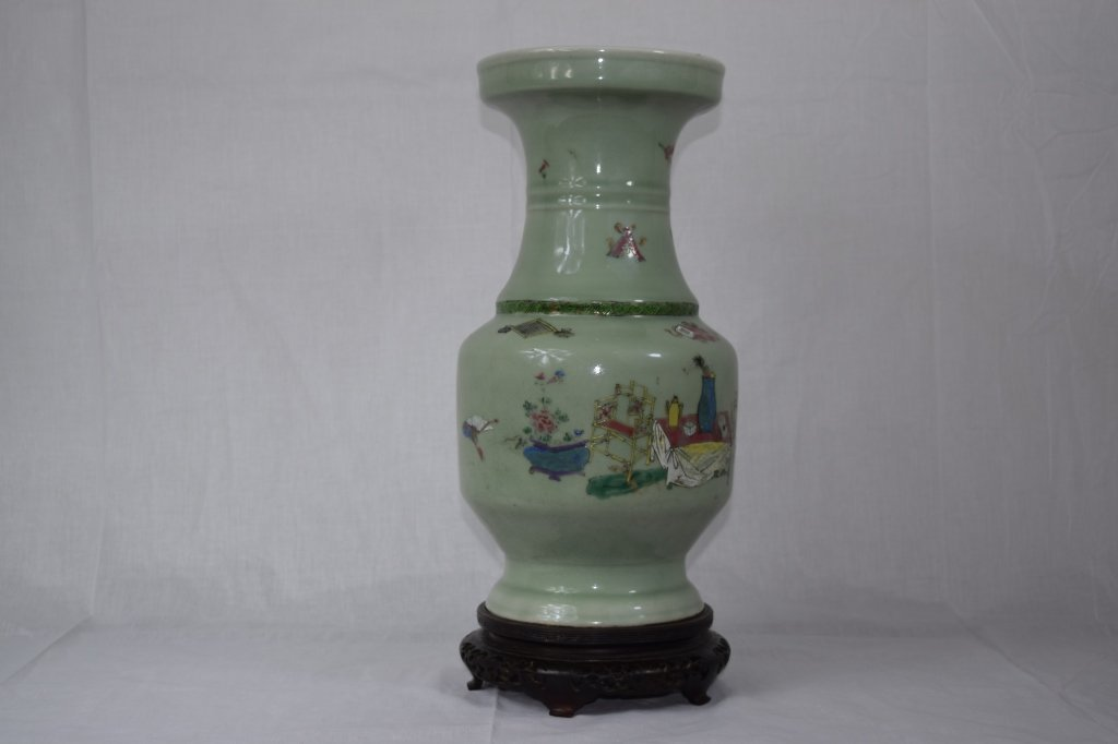 Qing Dynasty Chinese Celadon Vase with Polychrome