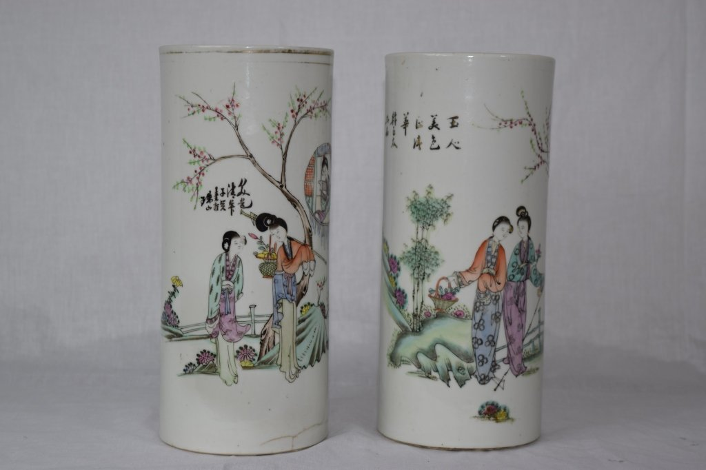 Two Chinese Famille Rose Hat Stands