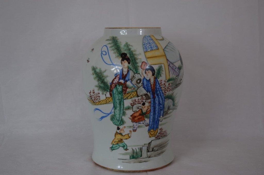 Large Chinese Famille Rose Jar