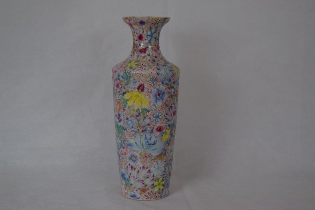 """Chinese Famille Rose """"Hundred Flowers"""" Vase"""
