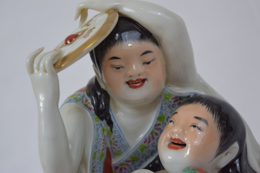 Chinese Famille Rose Two Boy Figure - 8
