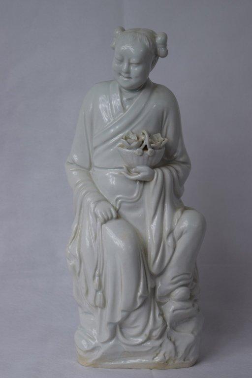 "Chinese White Porcelain ""Lan Cai He"" Figure"