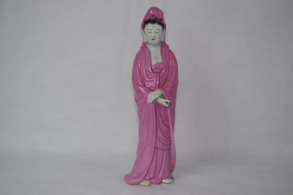Chinese Rose- Glaze GuanYin Figure