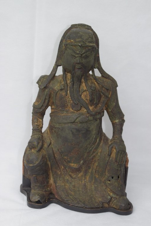 Ming Dynasty Chinese Bronze Guangong Statue - 2
