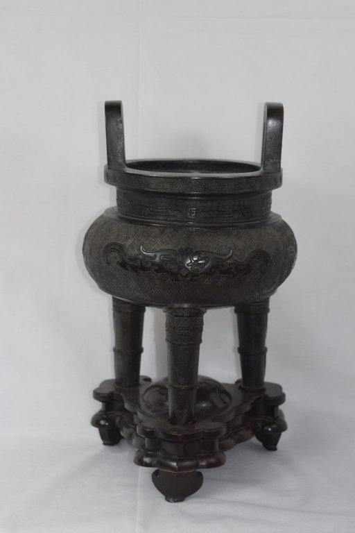 Large 19th c. Chinese Bronze Three-Footed Censer
