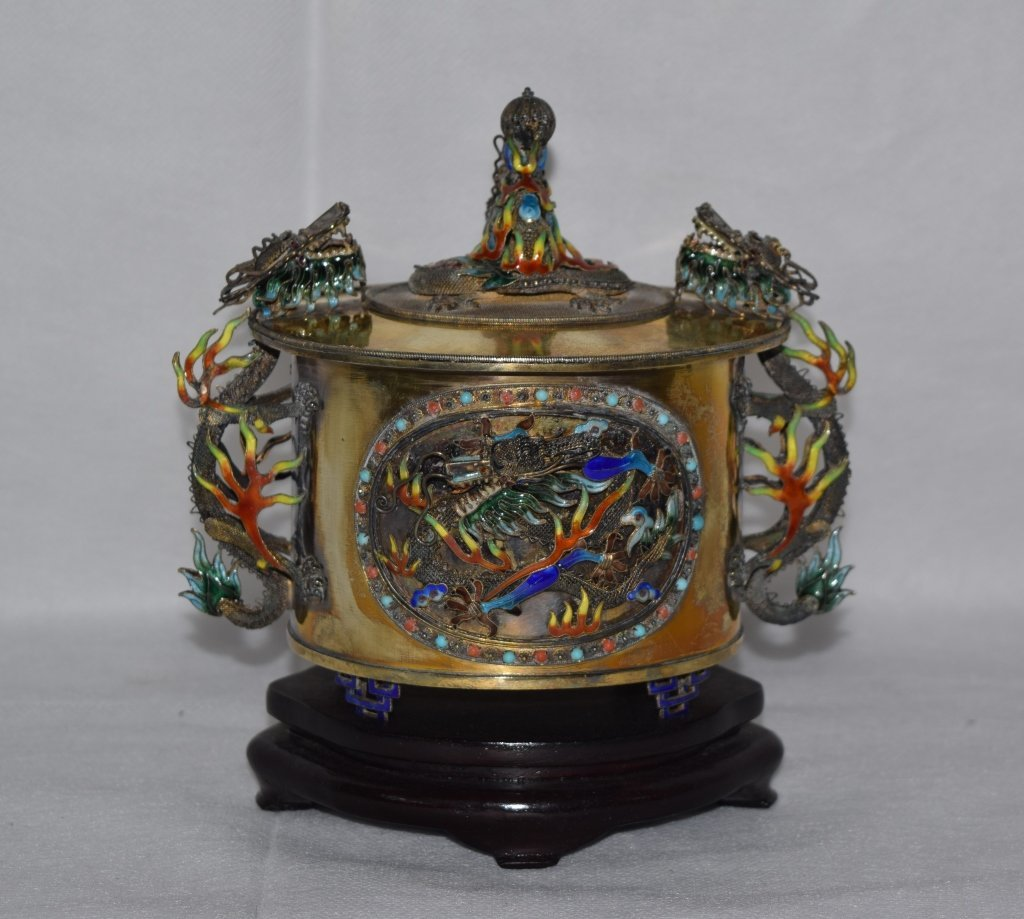 Chinese Enamel over Silver Covered Box