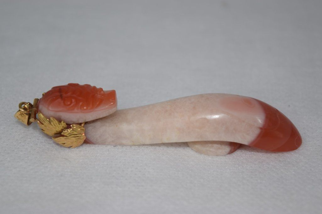 Qing Dynasty Chinese Red/White Agate Belt Hook