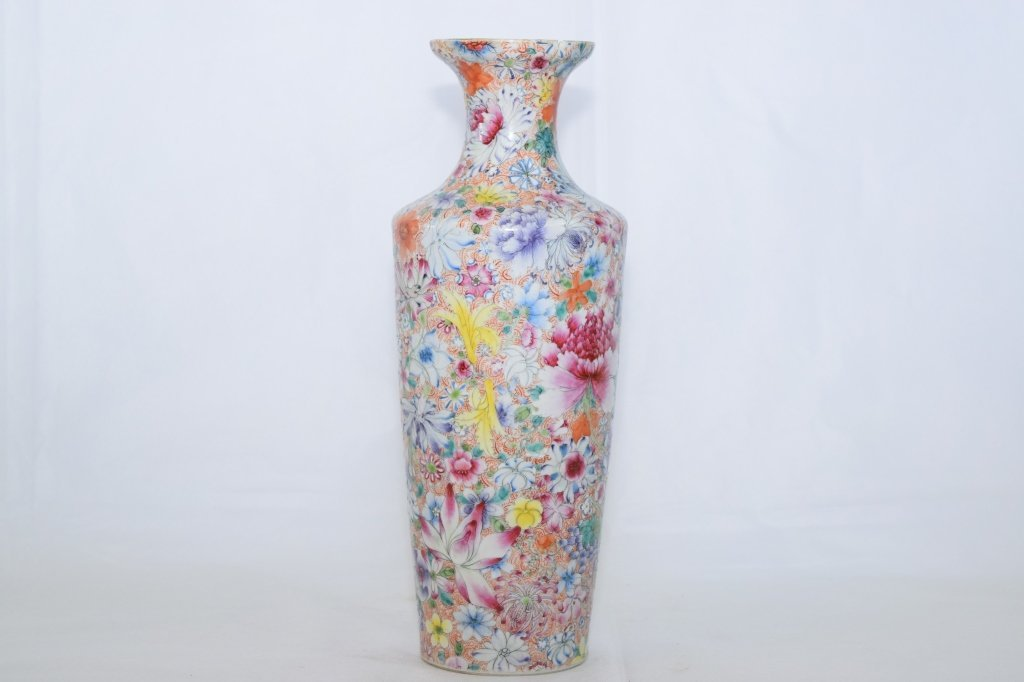 "Early 20th C. Chinese Famille Rose ""Flowers"" Vase"