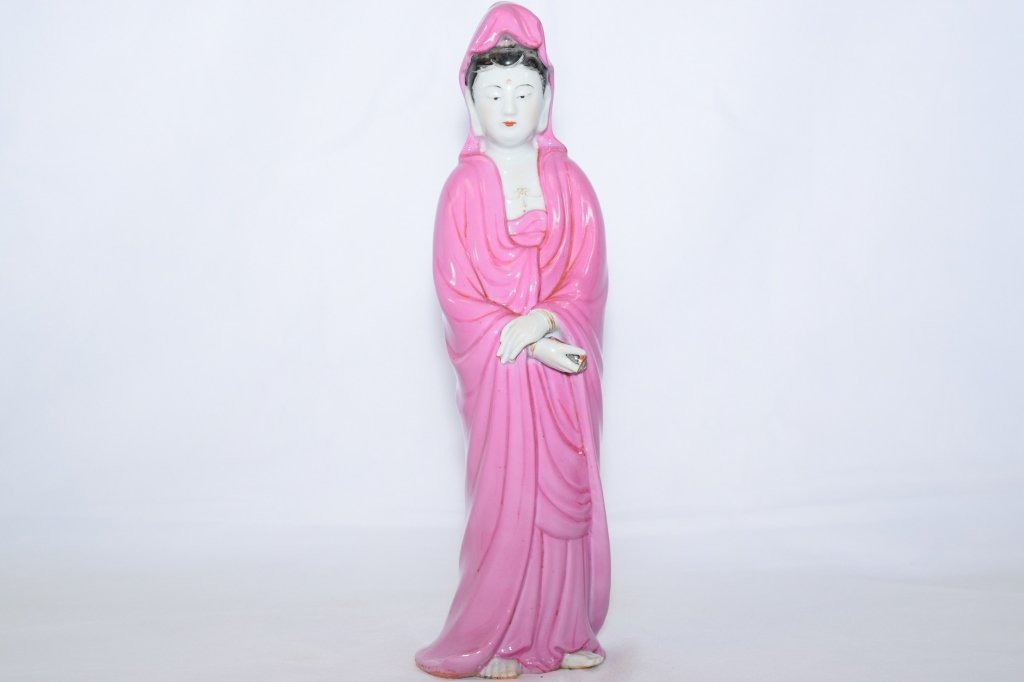 Early 20th C. Chinese Pink Glaze GuanYin