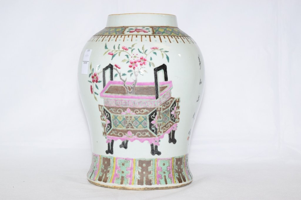 Early 20th C. Chinese Famille Rose Jar