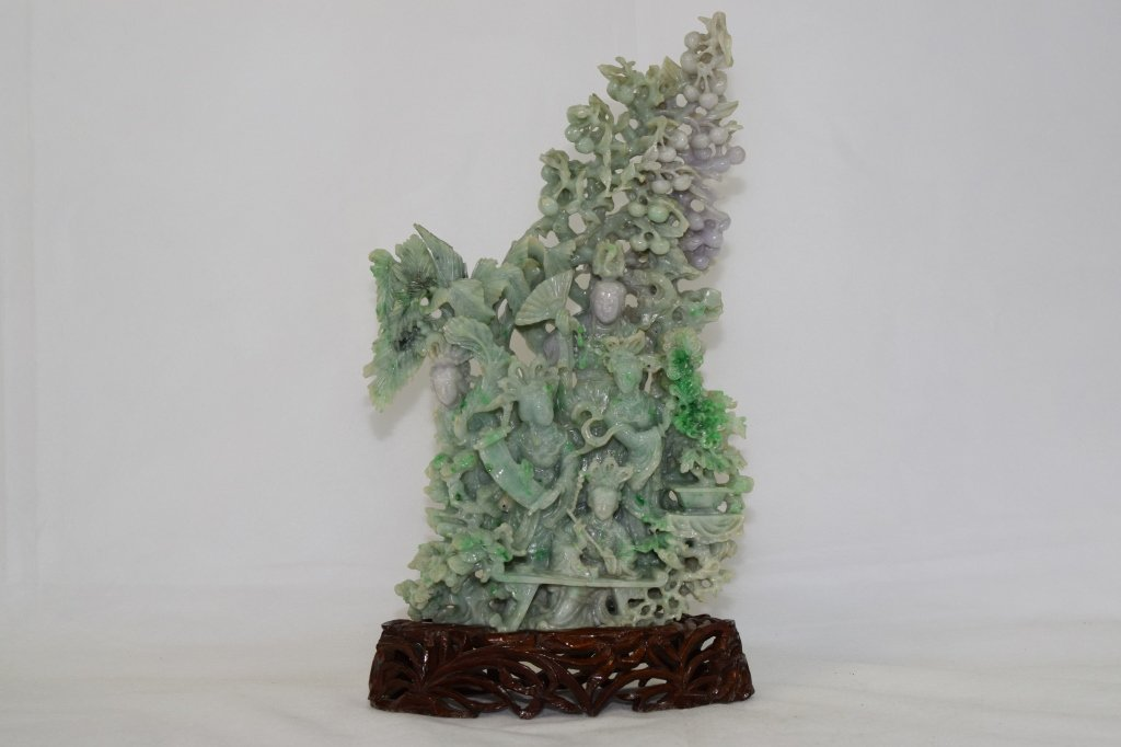 Large 20th C. Chinese Jadeite Carving