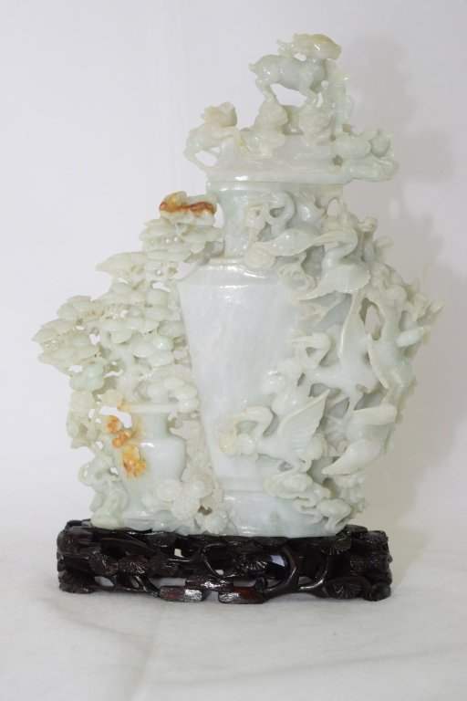 20th C. Chinese Jadeite Carved Vase with Stand - 2