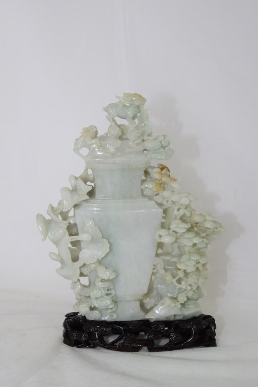 20th C. Chinese Jadeite Carved Vase with Stand - 3