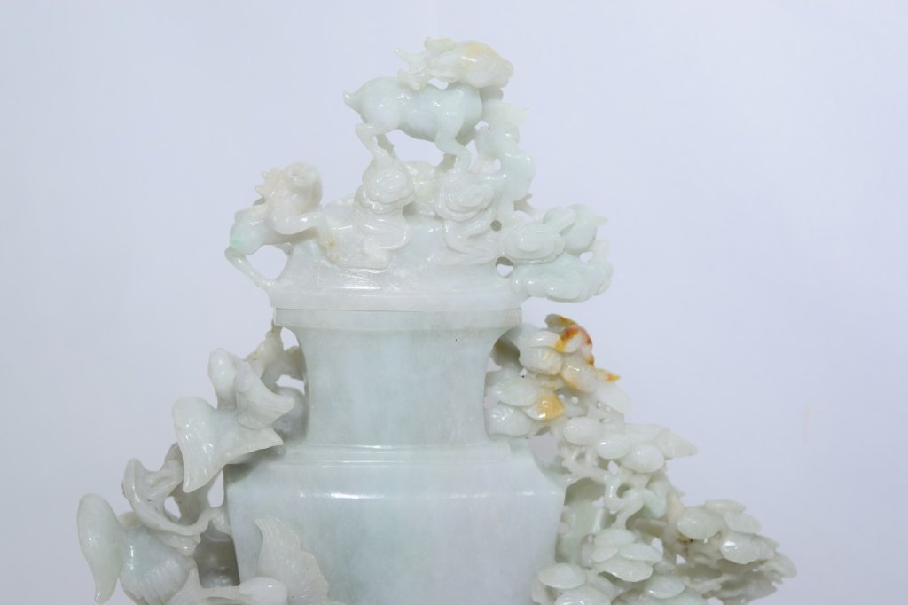 20th C. Chinese Jadeite Carved Vase with Stand - 4