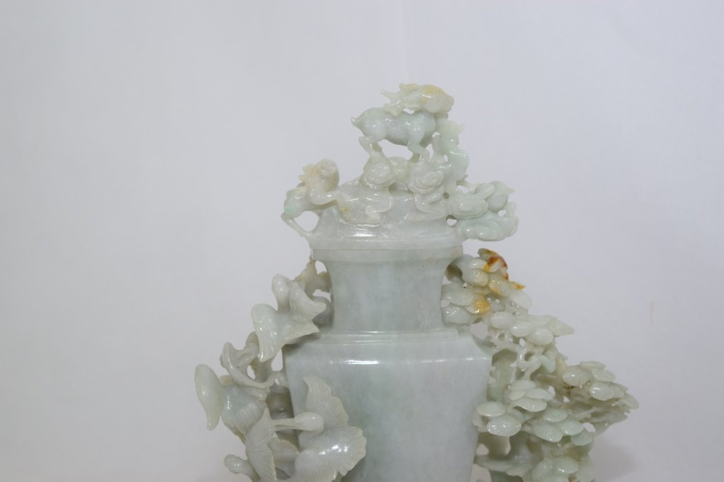 20th C. Chinese Jadeite Carved Vase with Stand - 6
