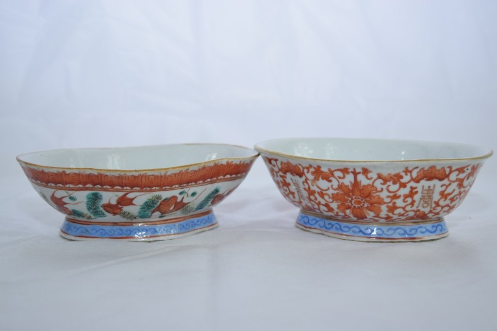 Two Late Qing Chinese Famille Rose& Iron Red Bowls