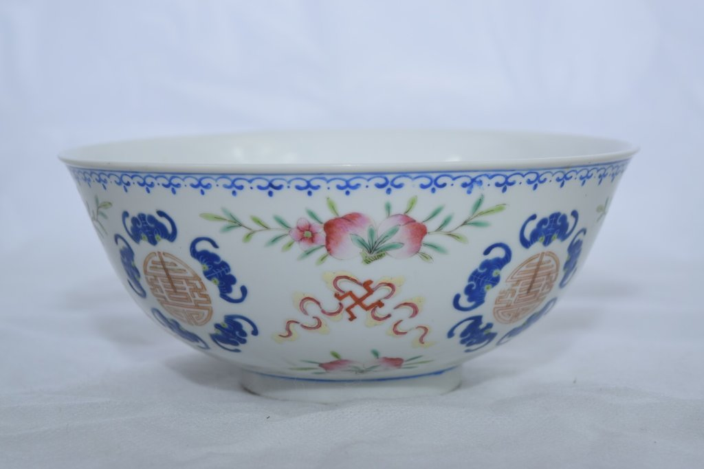Late Qing Chinese Famille Rose Peach & Bat Bowl