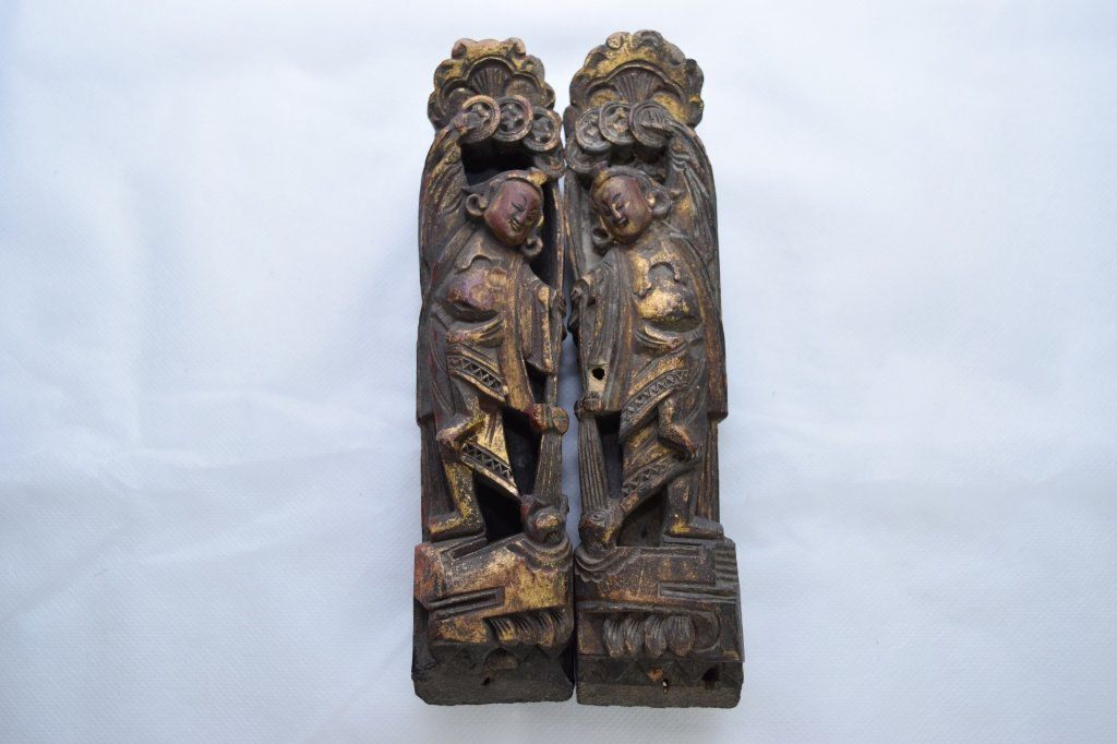 Late Qing Chinese Wood Carved Two Deities