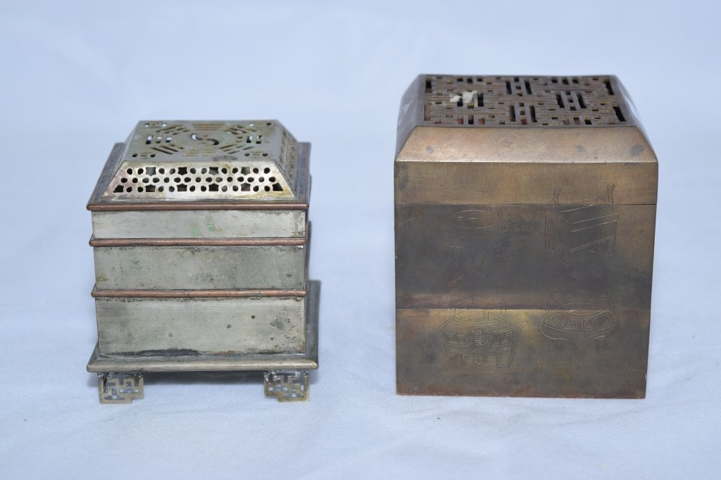 Two Chinese Bronze Square Incense Burner