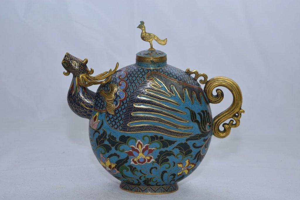 Qing Dynasty Chinese Cloisonne Phoenix Teapot